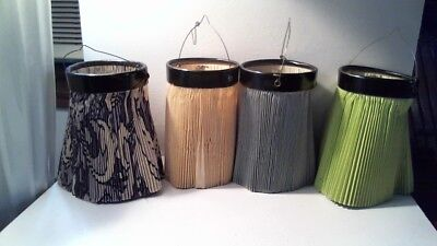 1940's VINTAGE 4 CANDLE PAPER LANTERNS TAN GREEN BLUE WHITE/BLUE - WEST GERMANY