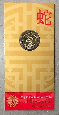 2013 One Dollar $1 Year of the Snake Uncirculated Coin in Red Envelope