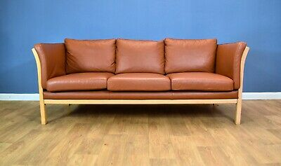 Mid Century Modern Retro Vintage Danish Tan Leather & Beech 3 Seat Sofa Settee