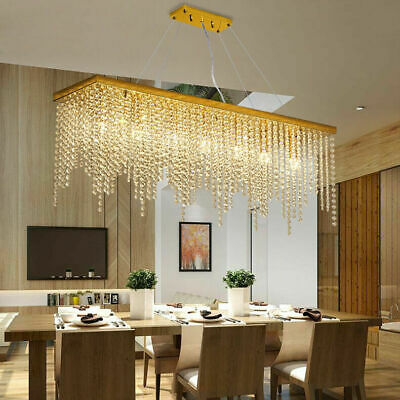 Modern minimalist restaurant rectangular Octagonal beads crystal LED chandelier