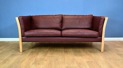 Mid Century Modern Retro Danish Maroon Leather & Beech 2.5 Seat Sofa Settee