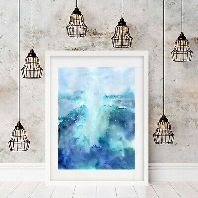 Ocean Watercolour  Abstract Print, Wall Art, Seascape, Blue, Beach, Unframed