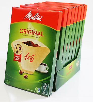 8 PACKS of Genuine Melitta 1x6 Coffee Machine Brown Paper Filters MEL6761343X8
