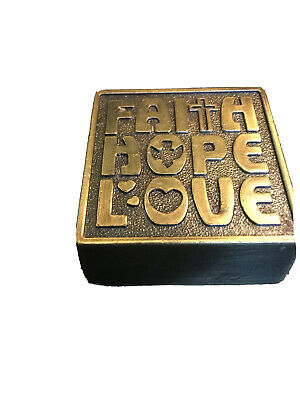 """Vintage Faith Hope Love Brass Paperweight Inspirational Paperweight 1.75"""""""