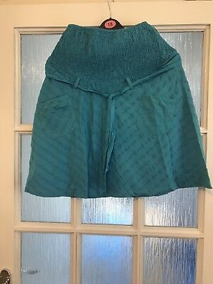 Ladies Blue Cotton Maternity Skirt Size SmallA)