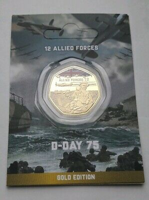 "2019 75th Anniversary - D-Day ""Allied Forces""  50p Style Gold Plated Medal Coin"