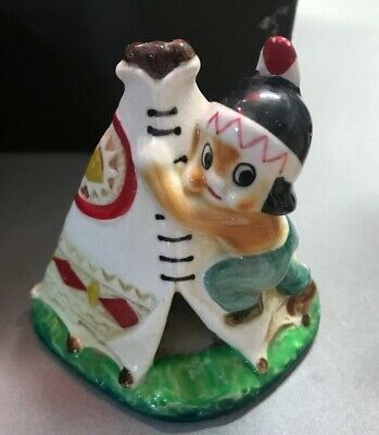 """Vintage Native American With Tepee Porcelian Made In Japan 4"""" Tall"""