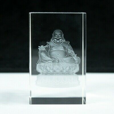 Buddha On Lotus Base Laser Crystal Block Paperweight Ornament 5x5x8 Boxed Gift