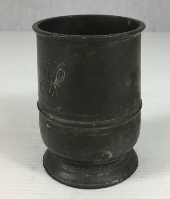 Antique Pewter Tankard Intialled Approximately 1 Gill 8.5cm In Height