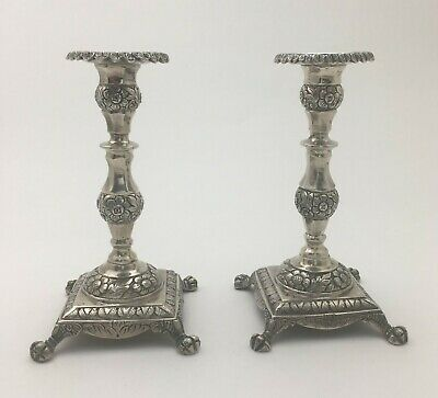 Antique Spanish Colonial Repousse Solid Silver Candlesticks Candleholders 502 Gr