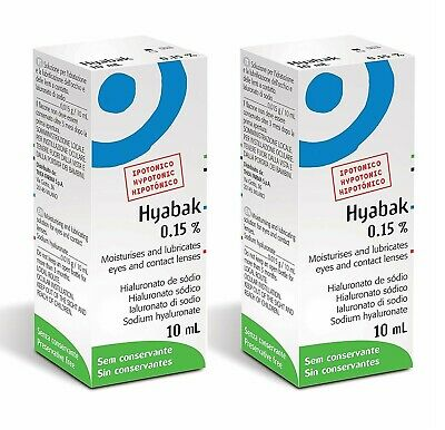 2x Thea Hyabak Eye Drops, 2x 10ml For Dry Eyes Hypotonic Formulation Double Pack