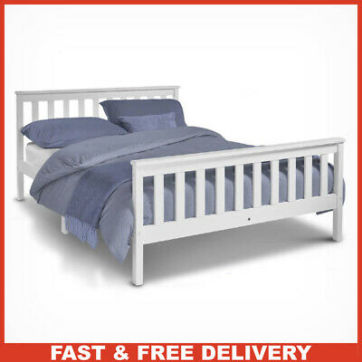 Pine Wood Double Bed Frame White Bar Style with Wooden Slatted Base L198xw143cm