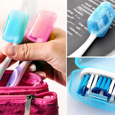 5PC Portable Toothbrushes Head Cover Holder Travel Hiking Camping Case US