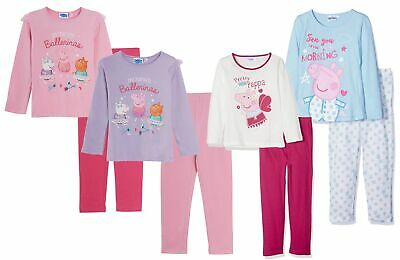 Girls Peppa Pig Long Cotton Pyjamas Kids Character 2 Piece PJs Set Nightwear
