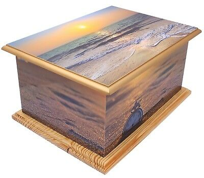Large wood MDF Adult Cremation urn ashes casket Funeral Memorial Beach Sunset