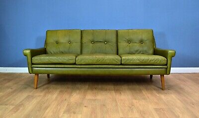 Mid Century Retro Danish Skippers Mobler Green Leather 3 Seat Sofa Settee 1960s