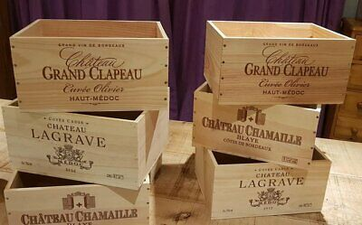 4 X Genuine French Wooden Wine Crate Box  Planter Childrens Drawers Storage +
