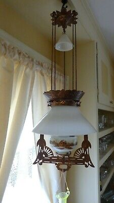 Antique (1870s) Iron Horse Hanging Lamp/ Oil/Cabin Rustic/Ready to hang