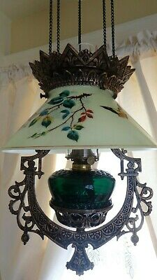 Antique (1870s) Iron Horse Hanging Lamp/ Nice Glass! Butterfly