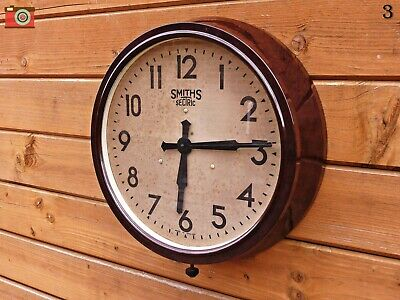 Vintage Early Smiths Sectric Wall Clock. Restored & Updated! Lovely Patina...