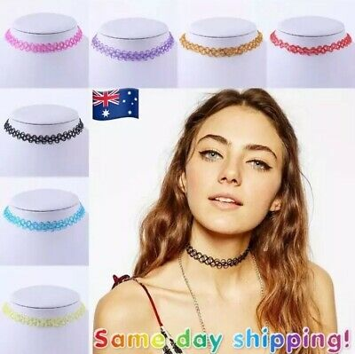 Stretch Choker Necklace Colour Cord Retro Elastic Hippy Boho Gothic 90s Tattoo