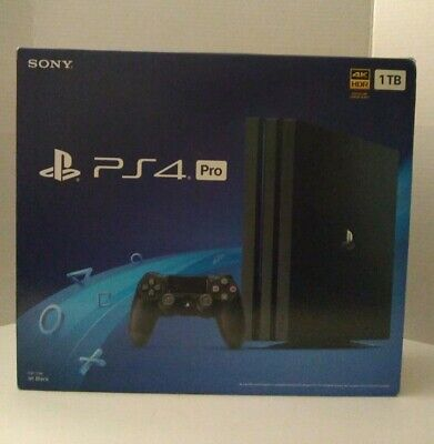 NEW Sony PlayStation Pro 4 1TB Jet Black Console With Remote And Cables PS4 Pro