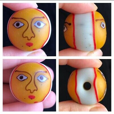 Wonderfull Old  Double Side Happy Faces Mosic Glass Bead