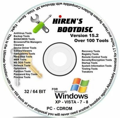 Hiren's Boot CD 15.2 & DVD, TOOLS, DISK WIPERS, for HP DELL COMPAQ IBM LENEVO