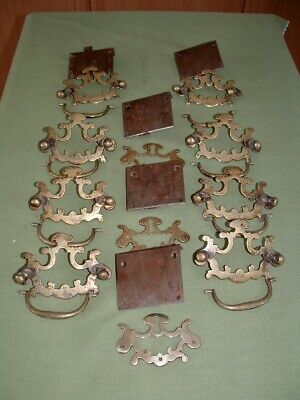 Antique early 18th. cent. set of original brass handles for a chest or bureau
