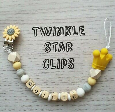 💕 Personalised Dummy Clip 💛 Yellow 💕 Crown 💛 Grey 💕 Baby 💛 Silicone 💕