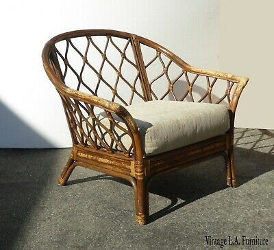 Vintage French Country Bamboo Rattan Accent Chair Style of Mcguire