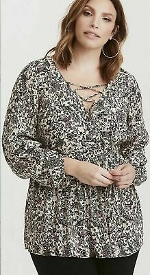 61291577b07eb Torrid Womens Tunic Top Lace Up Front Ivory Black Floral Babydoll Blouse  Size 3X