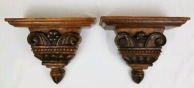 Neo-Classical style hand carved corbel pediment sconce pair walnut wood vintage