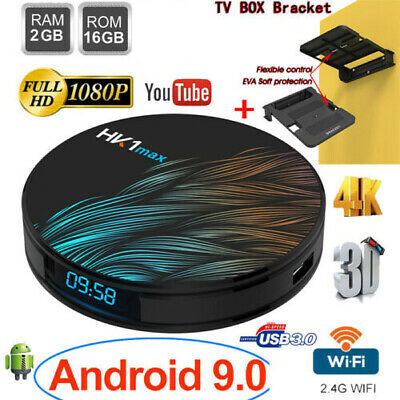 Lot HK1 MAX Circle TV Box RK3318 Android9.0 Quad Core 16G WiFi 4K Player+Bracket