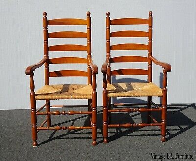 Pair of Vintage French Country Ladderback Rush Chairs