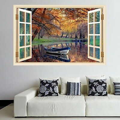 RIVER FOREST LAKE NATURE WALL STICKERS 3D ART MURAL ROOM OFFICE HOME DECOR TN8