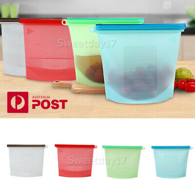 Reusable Silicone Food Preservation Bag Airtight Seal Food Storage Container AU