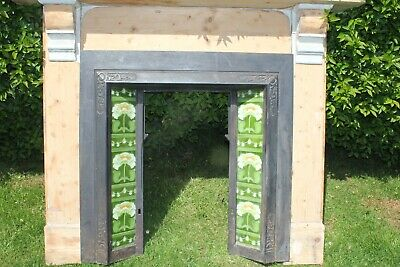 beautiful antique fireplace and surround cast iron with very pretty tiles