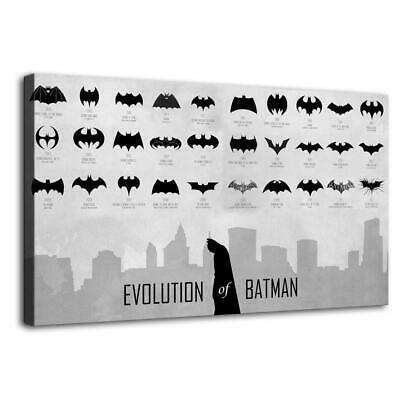 Evolution of Batman Logo Painting HD Print on Canvas Home Decor Wall Art 12x20