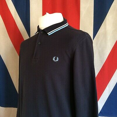 257e3fc35 Fred Perry Twin Tipped Navy Long Sleeve Polo Shirt Ska Vespa Size  Large-Slim Fit