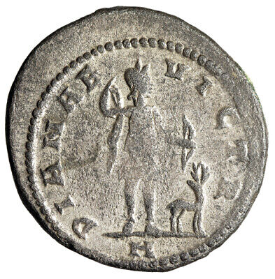 """Claudius II Gothicus Silvered Antoninianus """"Diana Hunting, Stag"""" Antioch Rare"""