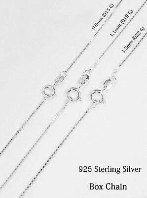 925 Sterling Silver Women's BOX Chain, Italy Made Necklace