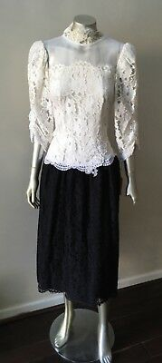 NWT Lace Victorian Vintage 80s Revival Formal Black White Party Midi Dress