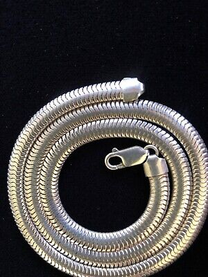 """Sterling Silver 925 Men's Flat Snake Chain Heavy 34g-17 1/2"""" Long, Without Clasp"""