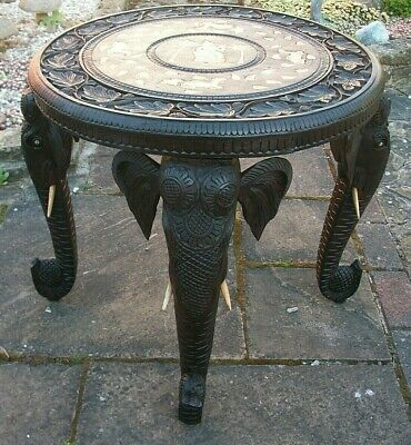 Antique Rosewood Anglo/Indian Inlaid Side Table With 4 Elephant Head Legs