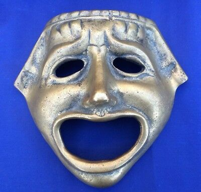 """Vintage Brass Tragedy Face Mask Greek Theater Drama Ancient Replica Hanging 6.5"""""""