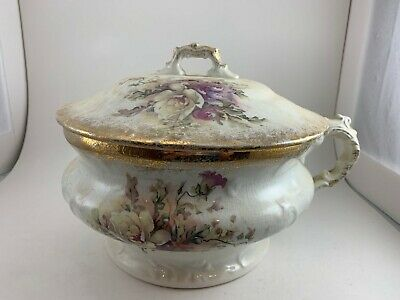 Vintage White Porcelain Chamber Pot Cashe Pot With Lid Floral Pattern And Gold