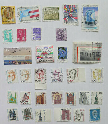 Europe used postage stamps, 100, mixed countries:UK, Italy, Germany, Greece, etc