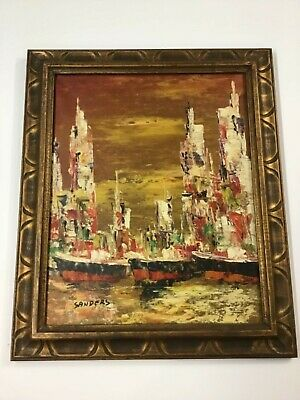 Mid Century Abstract Seaport Oil/Canvas Signed Sanders