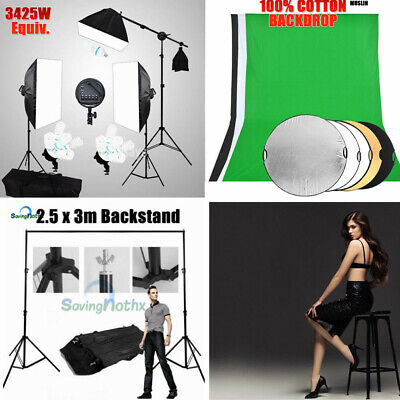 5 Head Photo Softbox Lighting Boom Arm Light Stand KIT / Screen Backdrop Support